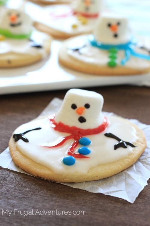 Melting snowman sugar cookies.