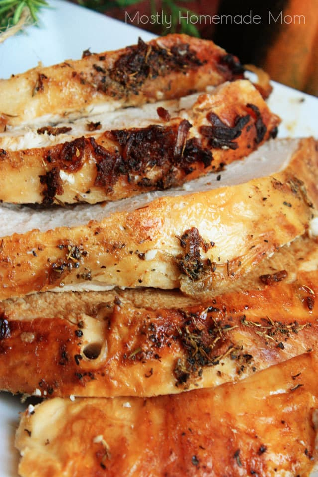 Moist roasted turkey breast.