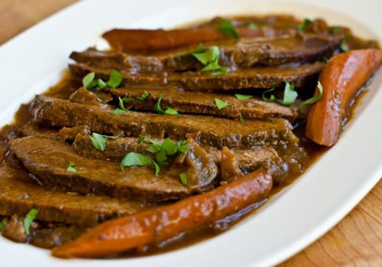 Onion braised beef brisket.