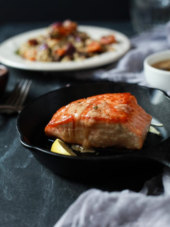 Pan seared salmon with sage brown butter sauce.