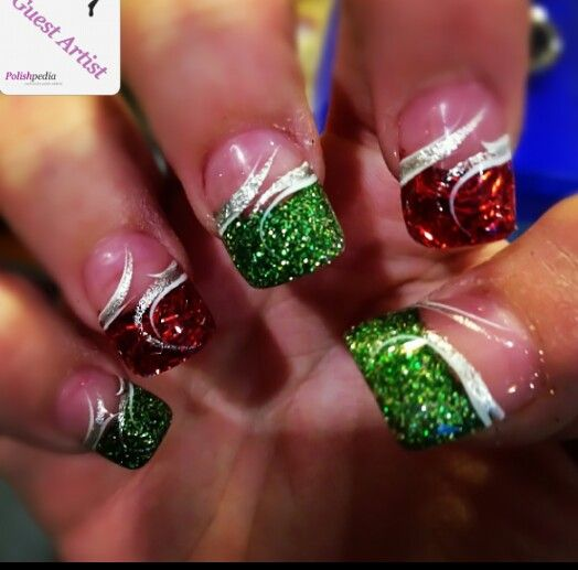 Red & green glittery french tips festive nails.