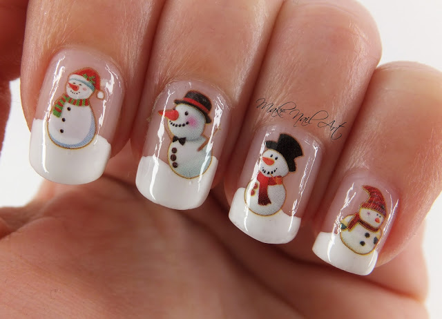 Snowmen water decals winter nails.