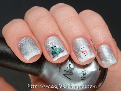 Stamping winter nails.