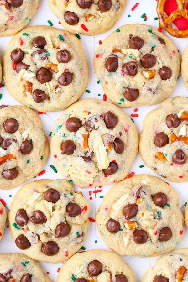 Sweet and salty Santa trash cookies.