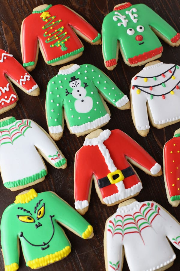 Ugly sweater cut out cookies.