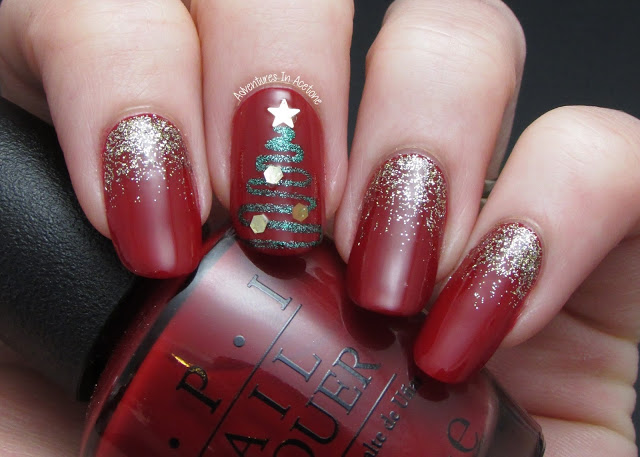 Wine nails with sparkle christmas tree.