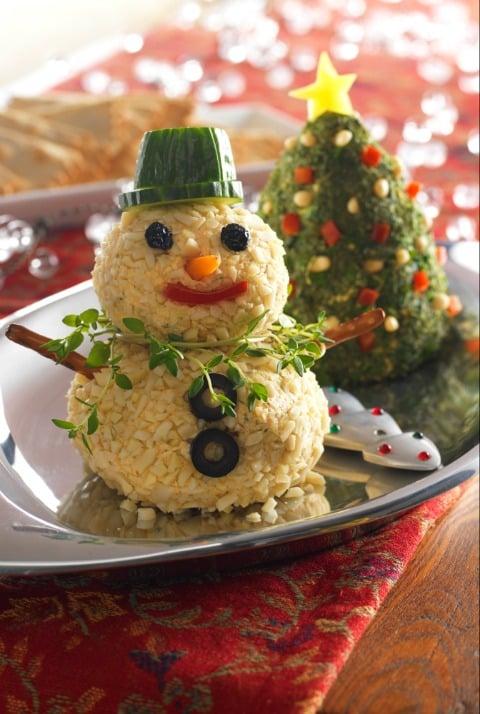 Cheese ball snowman and Christmas tree.