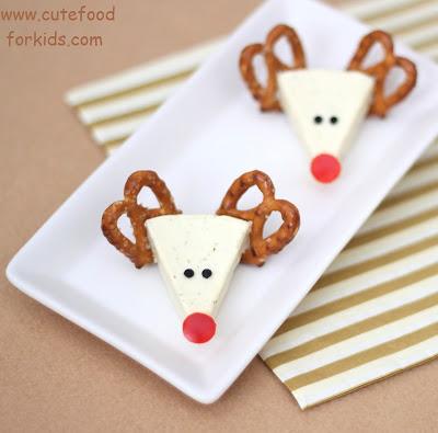 Cheese reindeer for kids.