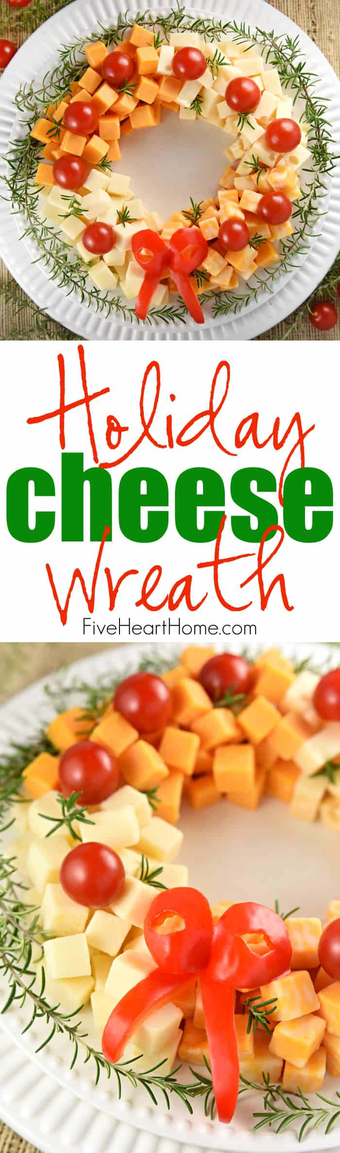 Cheese wreath for Christmas holidays.