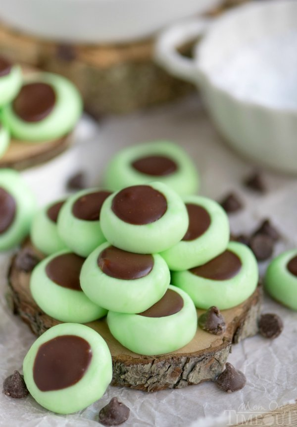 Chocolate mint buttons stack.