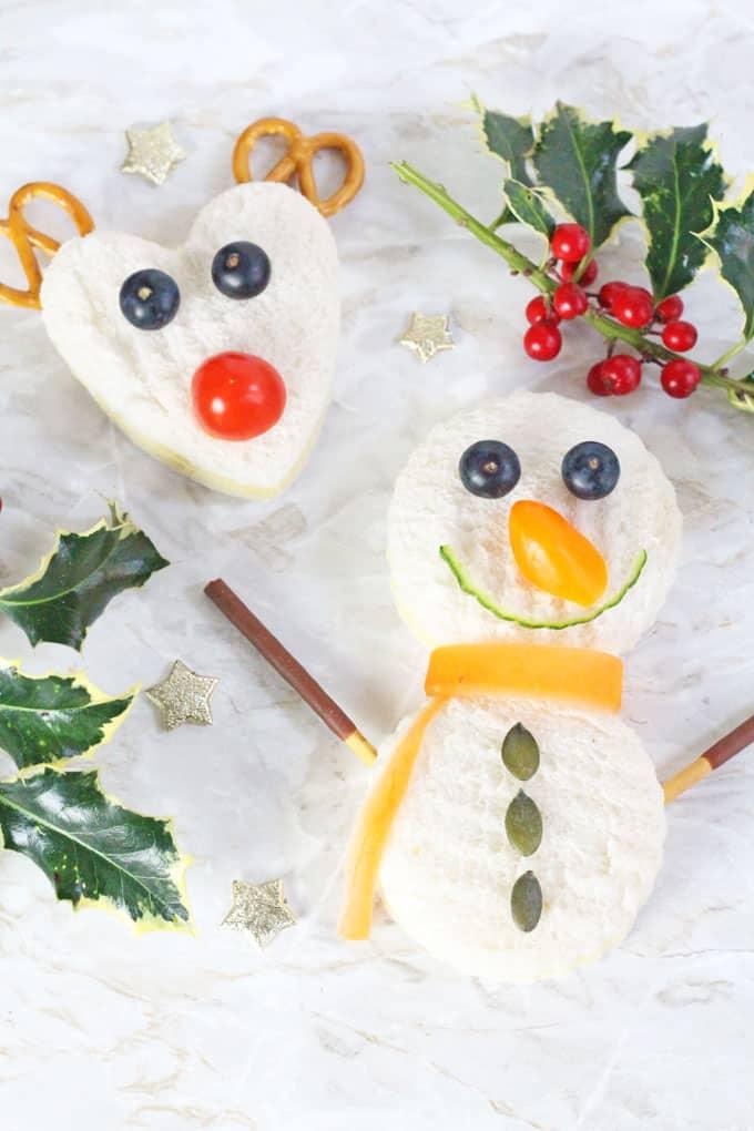 Christmas rudolph & snowman sandwiches.