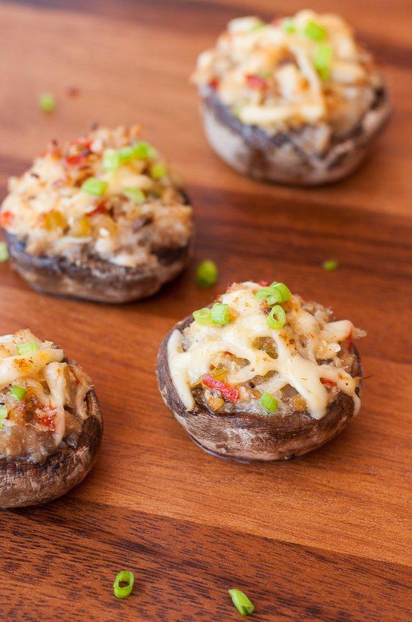 Crab stuffed mushroom with garlic and gouda.