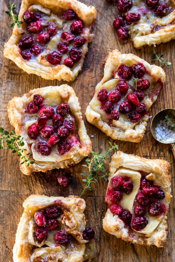 Cranberry brie pastry tarts.