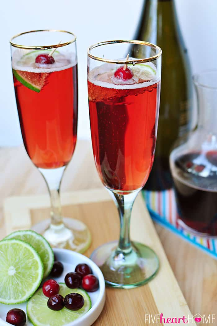 Cranberry pomegranate bellinis with lime.