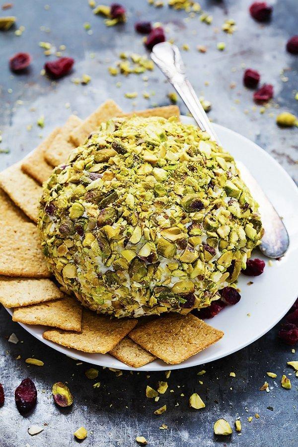 Creamy and crunchy cranberry pistachio cheeseball.