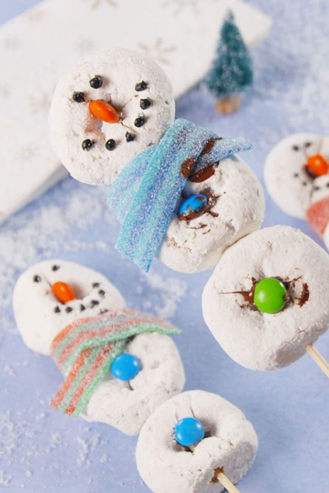 Delicious snowman donuts.