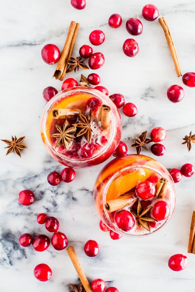 Delicious winter sangria non alcoholic.