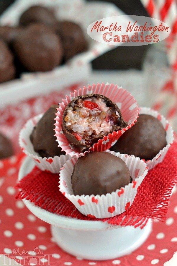 Festive candies combine coconut, cherries, pecans, and chocolate.