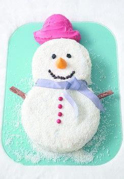 Frosty snowman cake.