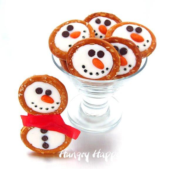 Frosty snowman pretzels.
