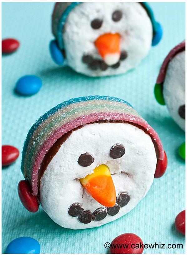 Funny snowman face donut.