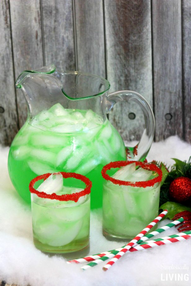 Grinch punch in pitcher.