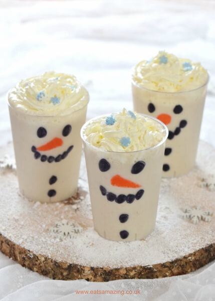 Healthy snowman smoothies.