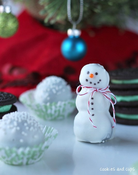 Mint oreo snowman truffles.