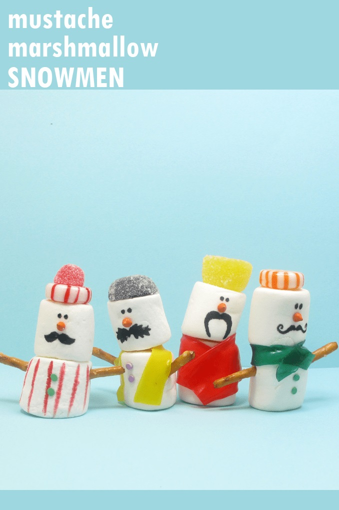 Mustache marshmallow snowmen.