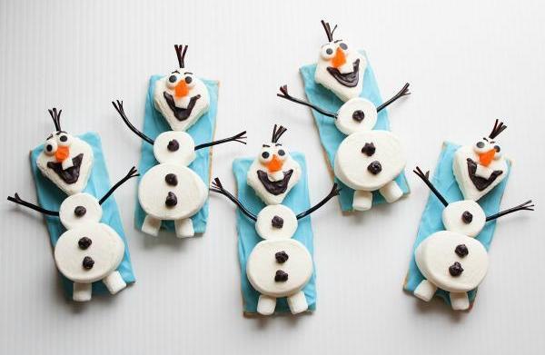 Olf the snowman snacks.