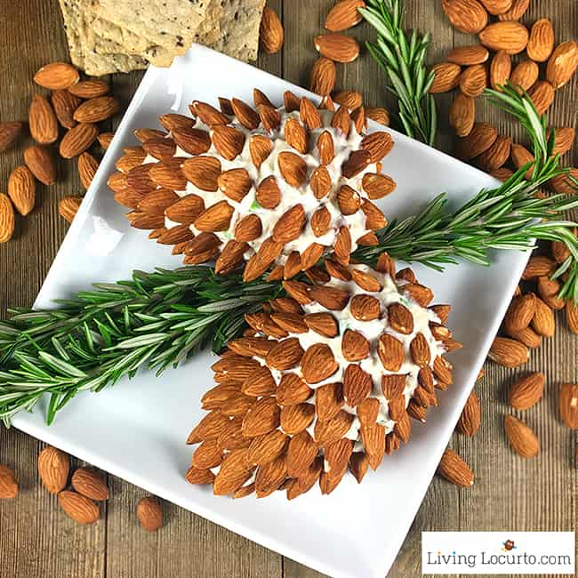 Pine cone cheese ball with almonds.