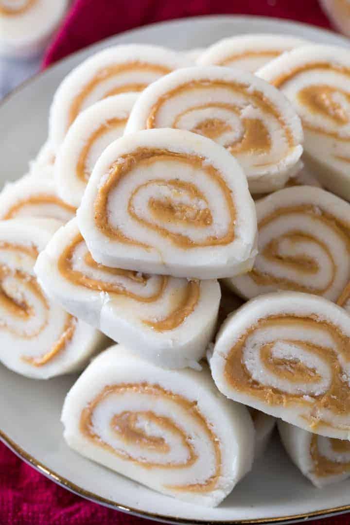 Pinwheel peanut butter candy.