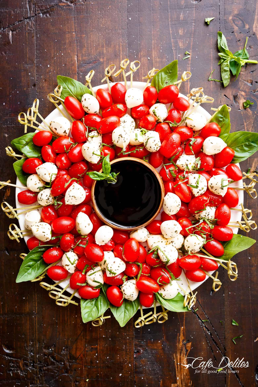 Red & white caprese Christmas wreath.