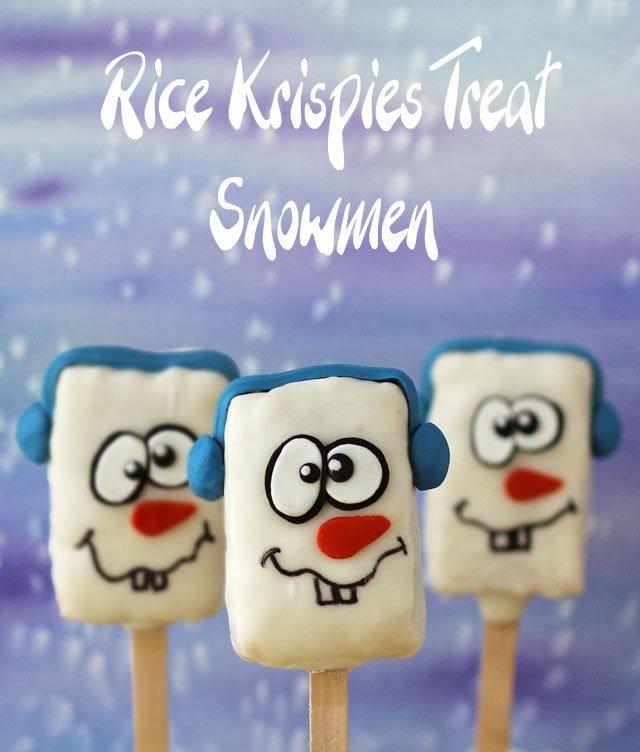 Rice krispie snowman pops.