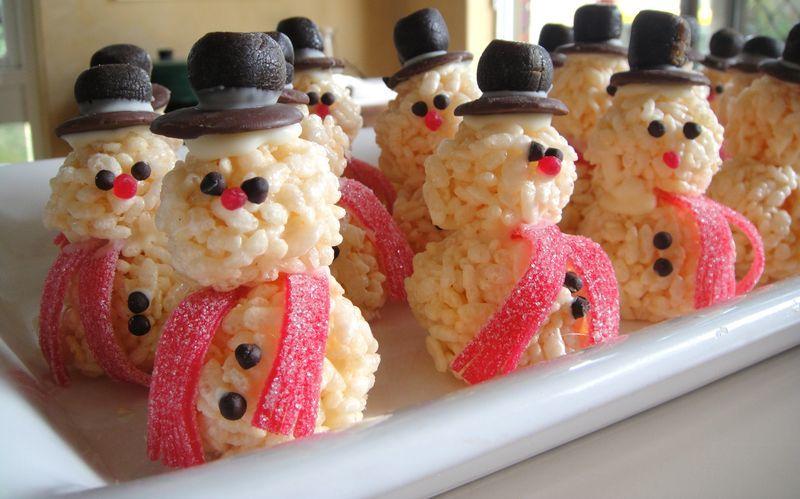 Rice krispie snowman.