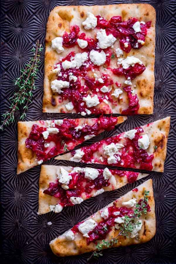 Roasted cranberry goat cheese flatbread.