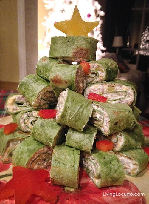 Sausage wraps Christmas tree party appetizer.