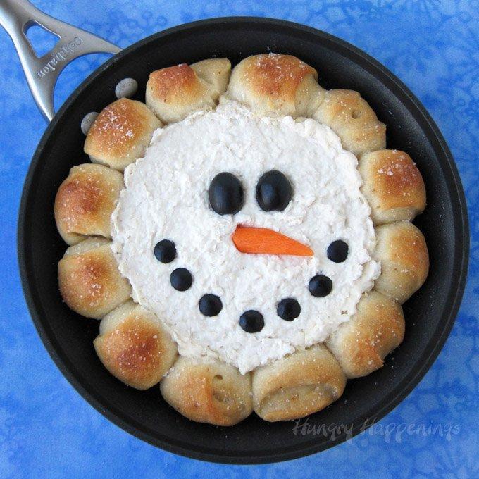 Skillet dip snowman.