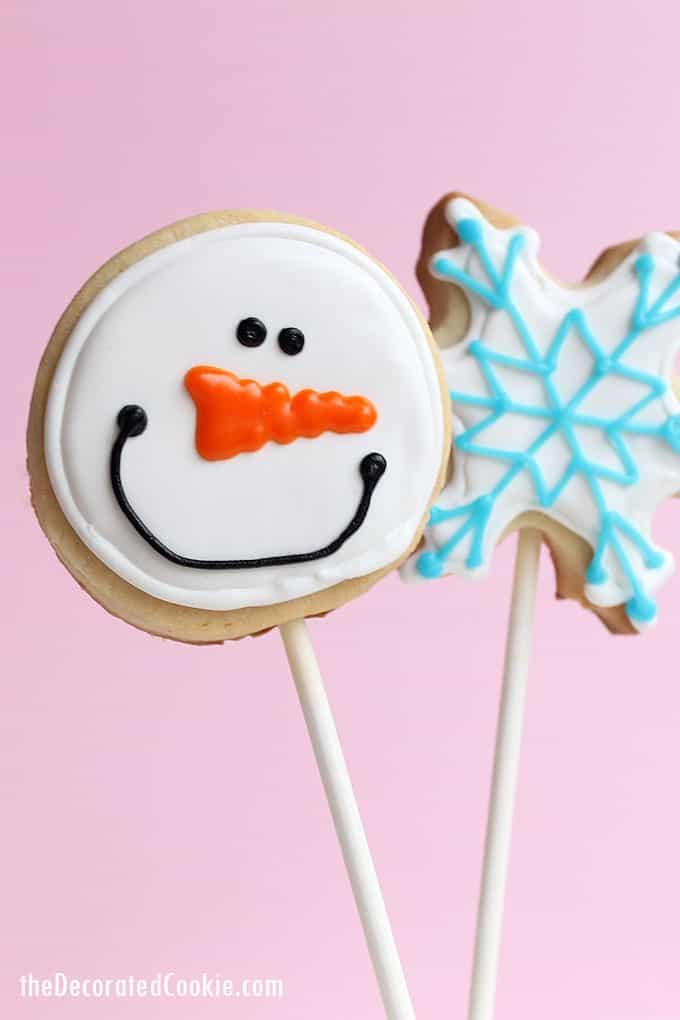 Snowflake & snowman cookie pops.