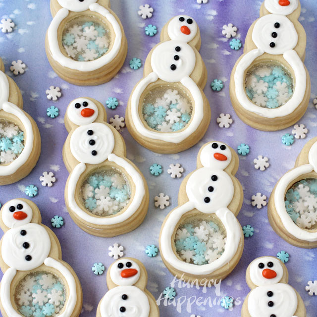 Snowflakes filled snowman cookies.