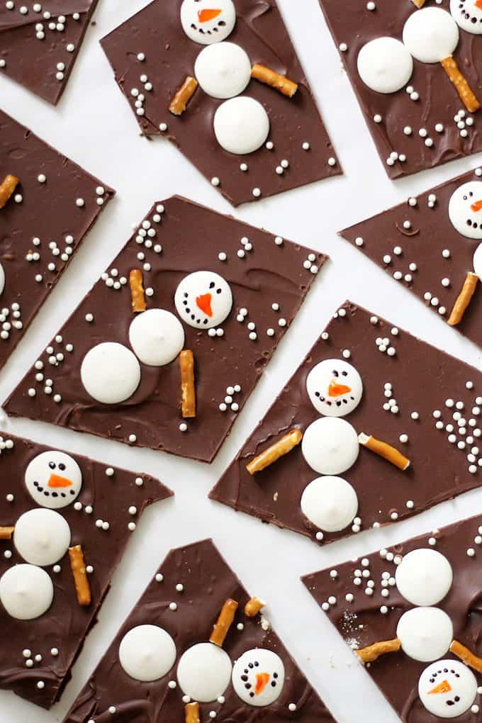 Snowman chocolate bark.