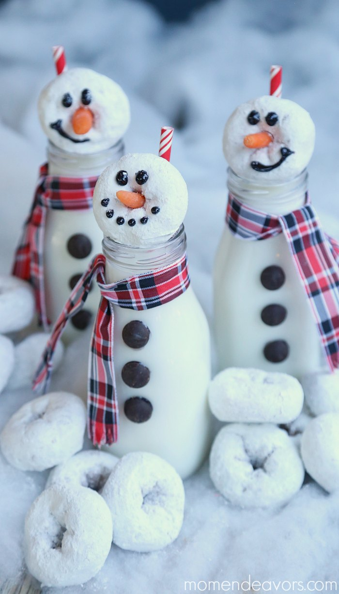 Snowman milk bottles with donuts.