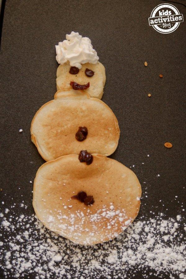 Snowman pancakes.