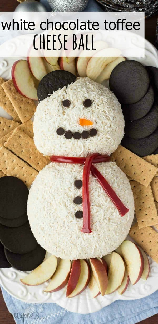 Snowman white chocolate toffee cheese ball.