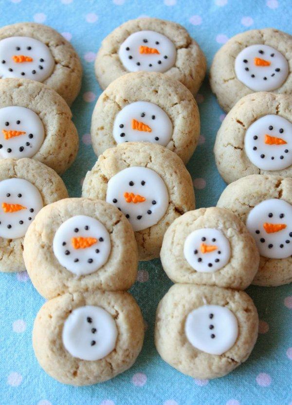 Thumbprint snowmen cookies.