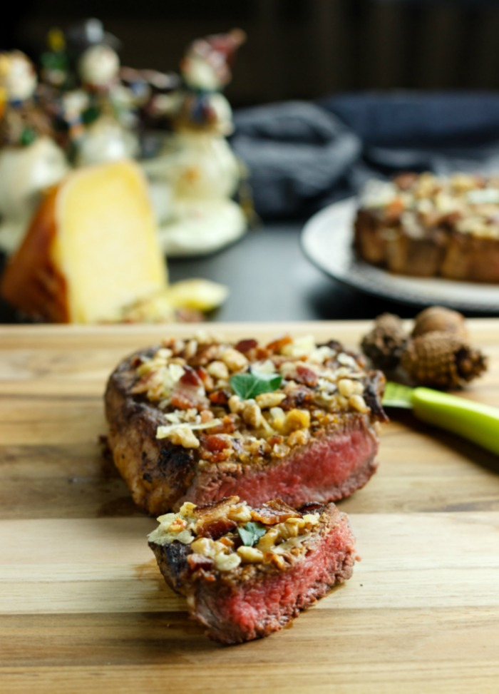 Bacon cheese walnut crusted steak.