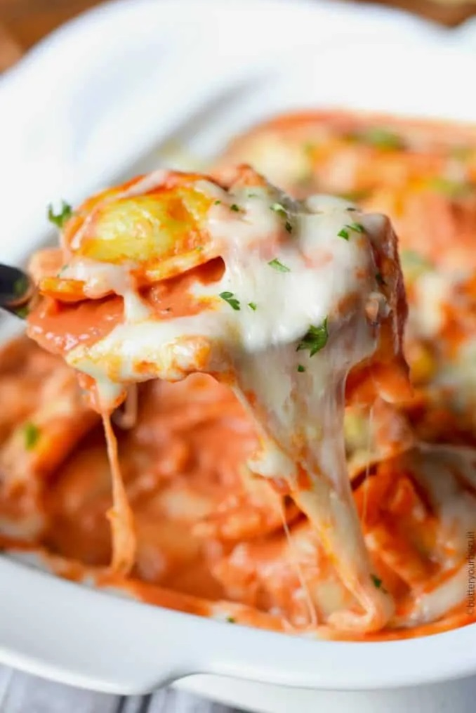 Baked Ravioli with Vodka Cream Sauce.