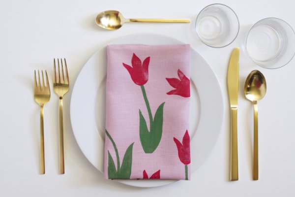 Block print tulip napkin.