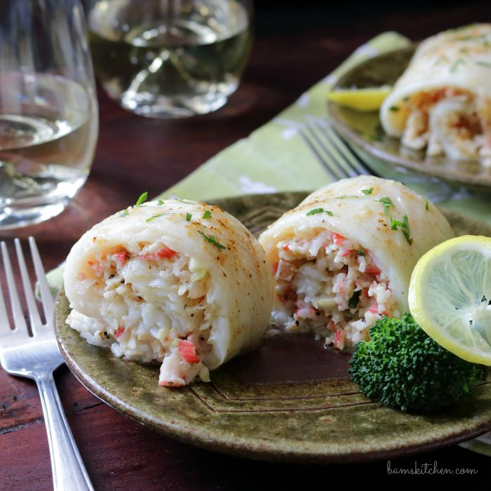 Crab stuffed white fish.