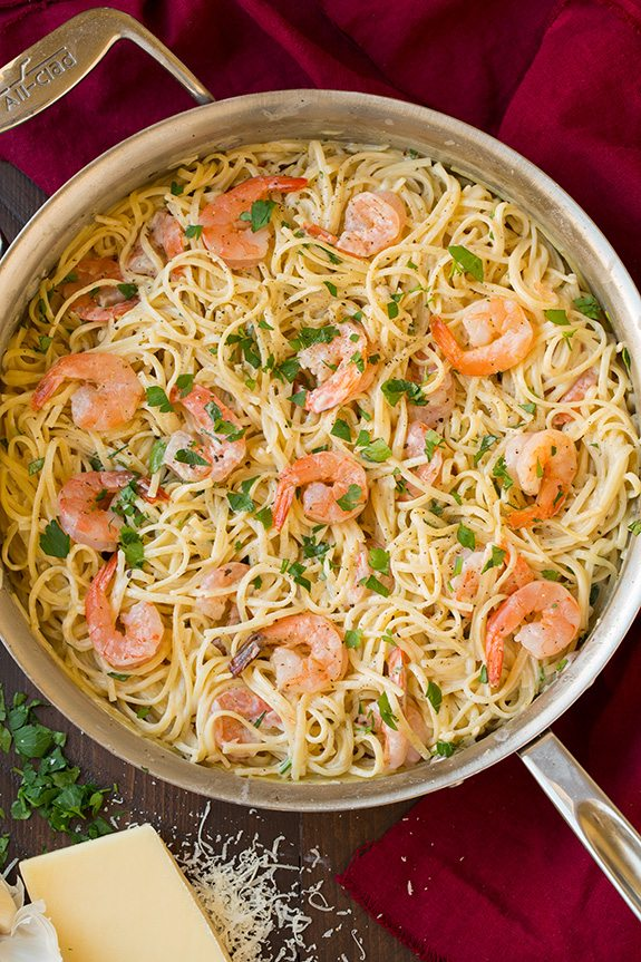 Creamy Parmesan Linguine with Shrimp.